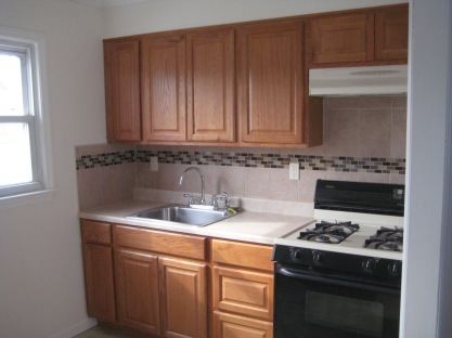 New kitchen with mosaic tile accent