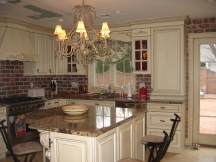Large Kitchen with chandelier